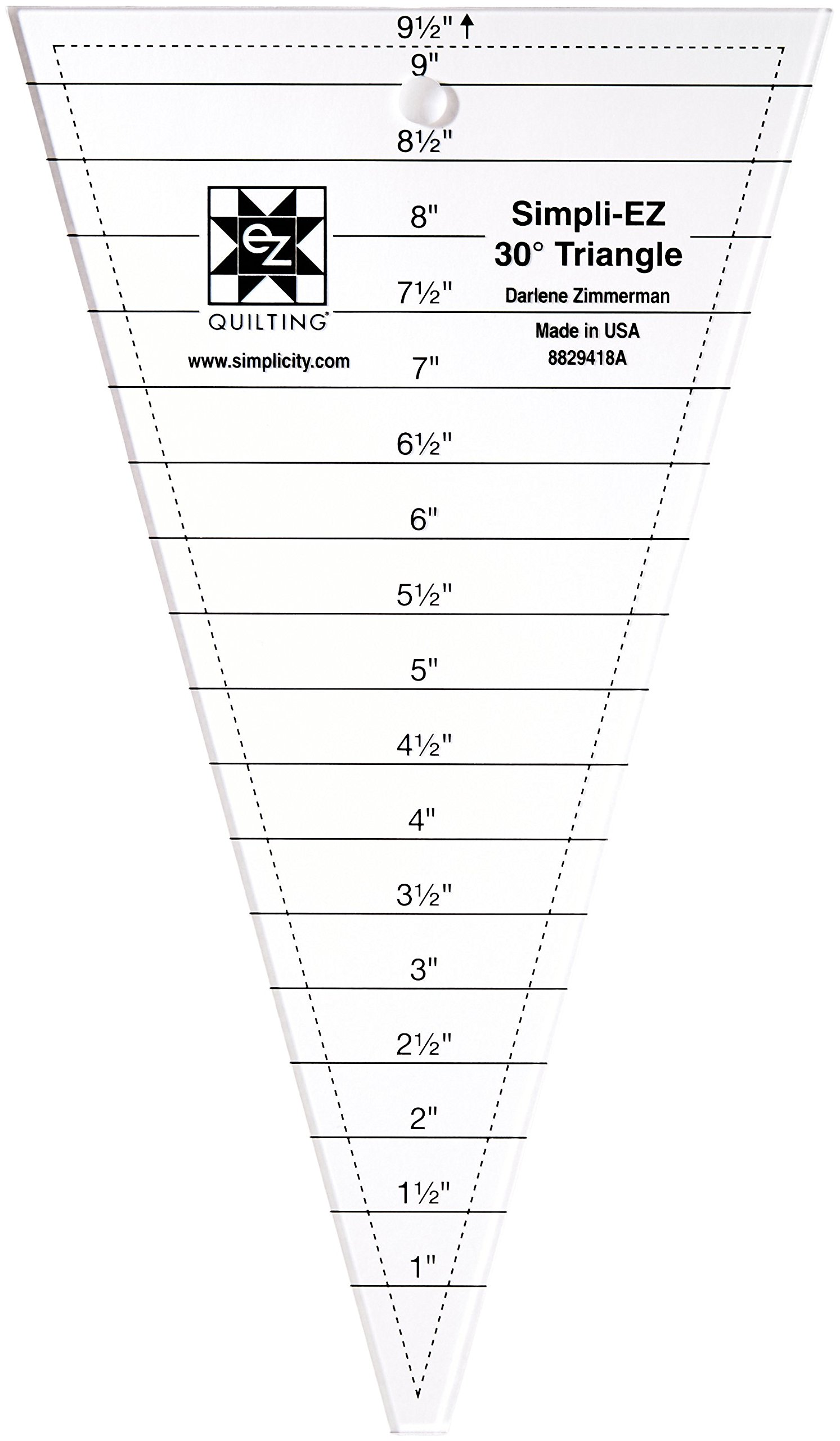 """Simplicity 30 Degree Triangle Quilting Ruler and Quilting Template, 9.5"""" x 5.5"""""""