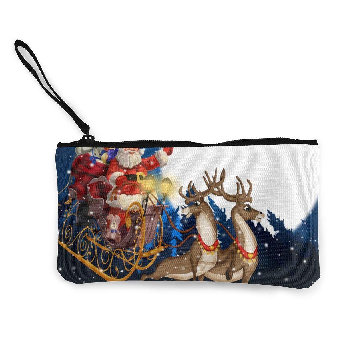Canvas Cash Coin Purse,Reindeer Pulling Santa Claus Print Make Up Bag Zipper Small Purse Wallets