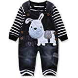 LvYinLi Cute Baby Boy Clothes Toddler Boys' Striped Long Sleeve T-Shirt+Jumpsuit Overalls Pants Outfits Sets