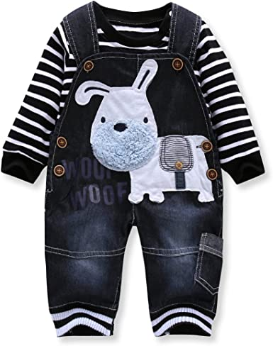 Cute Baby Boys Two-Piece Set Clothes Toddler Jumpsuit Jean Overalls Set with Stripe Woven Shirt