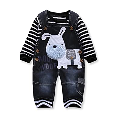 507577a39 Cute Baby Boys Clothes Toddler Boys' Romper Jumpsuit Overalls Stripe  Rompers Sets (2 years