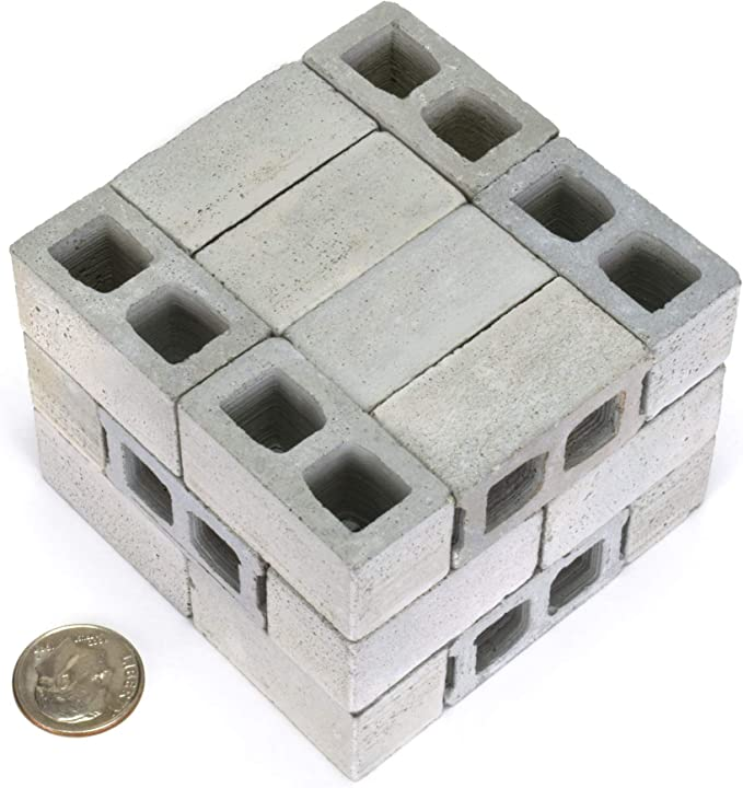 Cool Gadgets or Gag Gift for Men Teens 1//12 Scale Mini Cinder Blocks Miniature Concrete Bricks 24 Pack Handmade in USA Premium Quality Your Desk