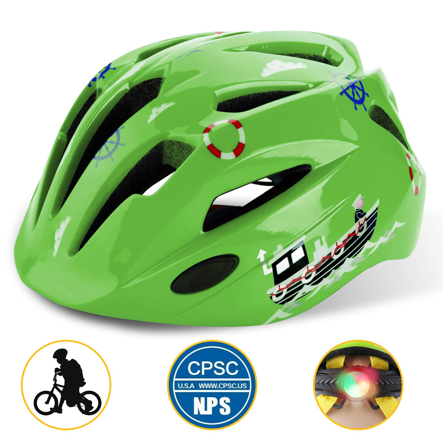 Basecamp Kids Bike Helmet, Children Cycling Helmet CPC Safety Certified 3D Cartoon Infant/Toddler Helmet Skating Boys&Girls Riding Scooter Safety Protective (Green) by Shinmax