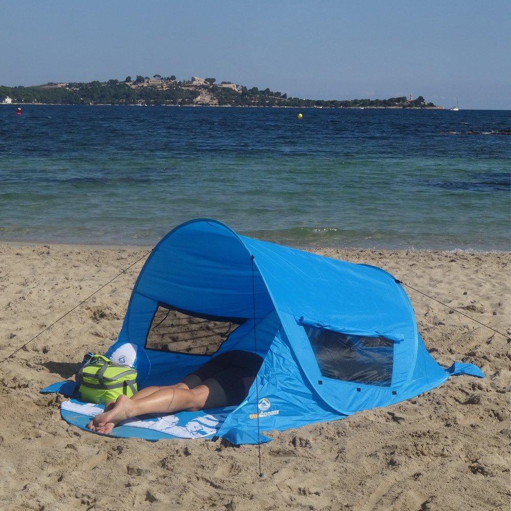 outdoorer Tienda de Playa instántanea PREMIUM azul, UV 80, incluidas estaquillas y 3 ventanas: Amazon.es: Deportes y aire libre