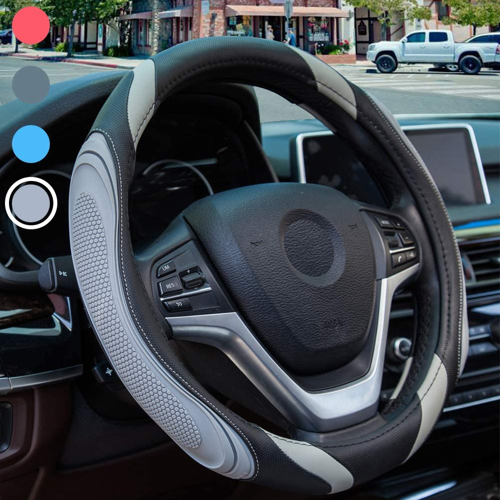 Black Sportage Universal 37-38cm Steering Wheel Cover Black Not Easy To Wear Out Anti-slip Breathable Steering Wheel Cover Car Leather Steering Wheel Cover