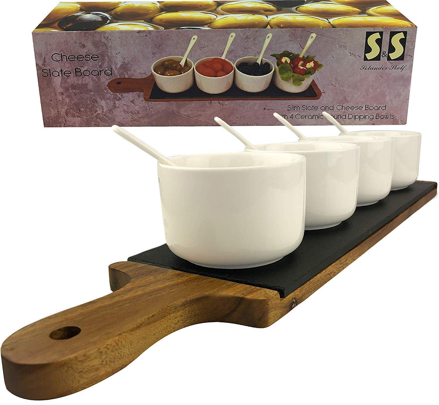 Acacia Wooden Tray Cheese Slate Board Set Large Dipping Square Bowls with Spoons
