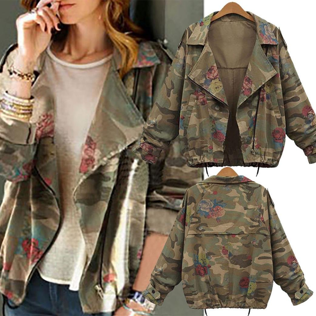 c3f240f8b7a77 Amazon.com: Jushye Hot Sale!!! Women Camouflage Coat, Ladies Plus Size  Loose Batwing Sleeve Jacket Coats Outwear Tops: Clothing