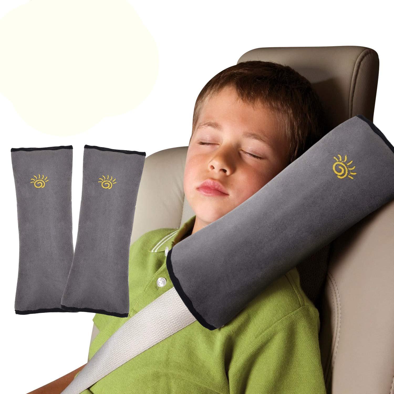 2PCS Seat Belt Pillow for Kids Car Belt Shoulder Pads Safety Belt Protector Cushion Plush Head Neck Support for Children Baby Grey