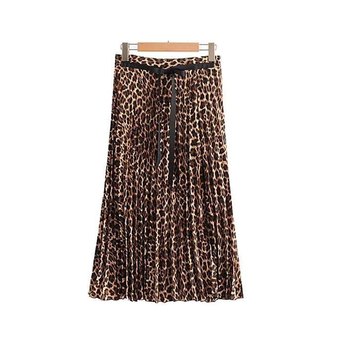 Falda Plisada Estampado Leopardo Elegante de Las Mujeres patrón de ...
