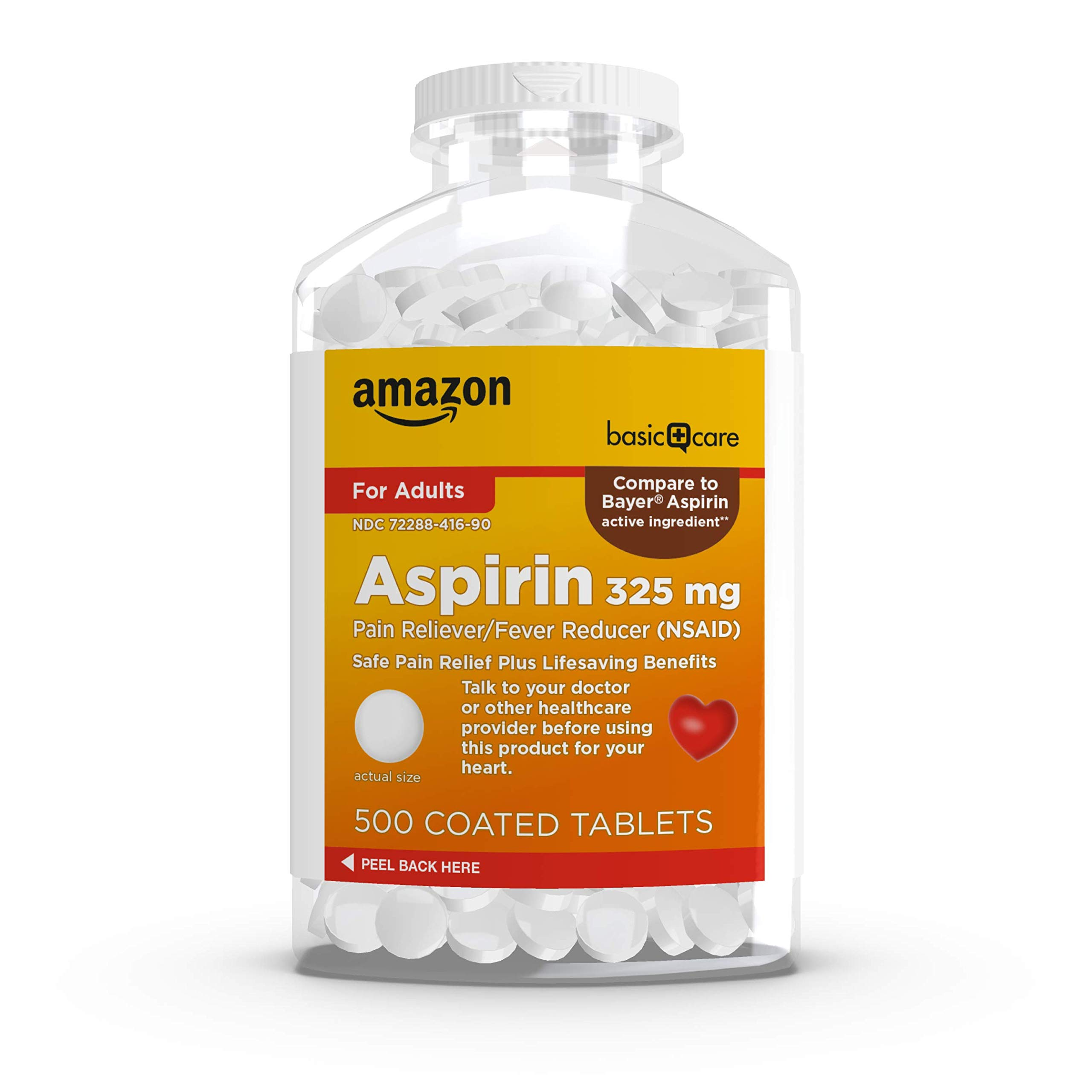 Amazon Basic Care Aspirin Pain Reliever and Fever Reducer (NSAID), 325 mg Coated Tablets, 500 Count