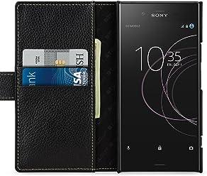 StilGut Housse pour Sony Xperia XZ1 Porte-Cartes Talis en Cuir véritable à Ouverture latérale et Languette magnétique