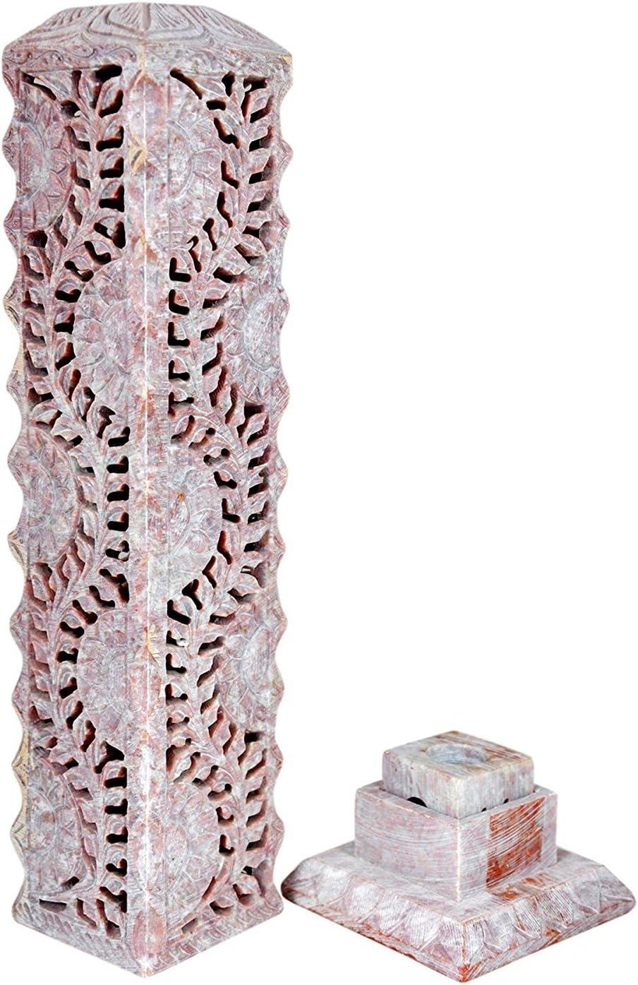 Bougeoir d/écoratif fabriqu/é /à partir de en st/éatite avec Floral Carving avec Support pour Home Decor Hashcart Photophore