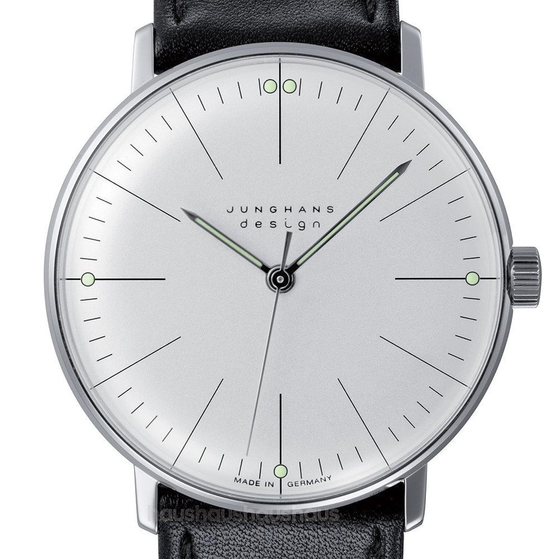 Max Bill Manuelle Linien Armbanduhr - Weiß Gesicht - Schwarz Leder Band 34 mm