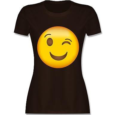 Shirtracer Comic Shirts - Zwinker Emoji - S - Braun - L191 - Damen T-