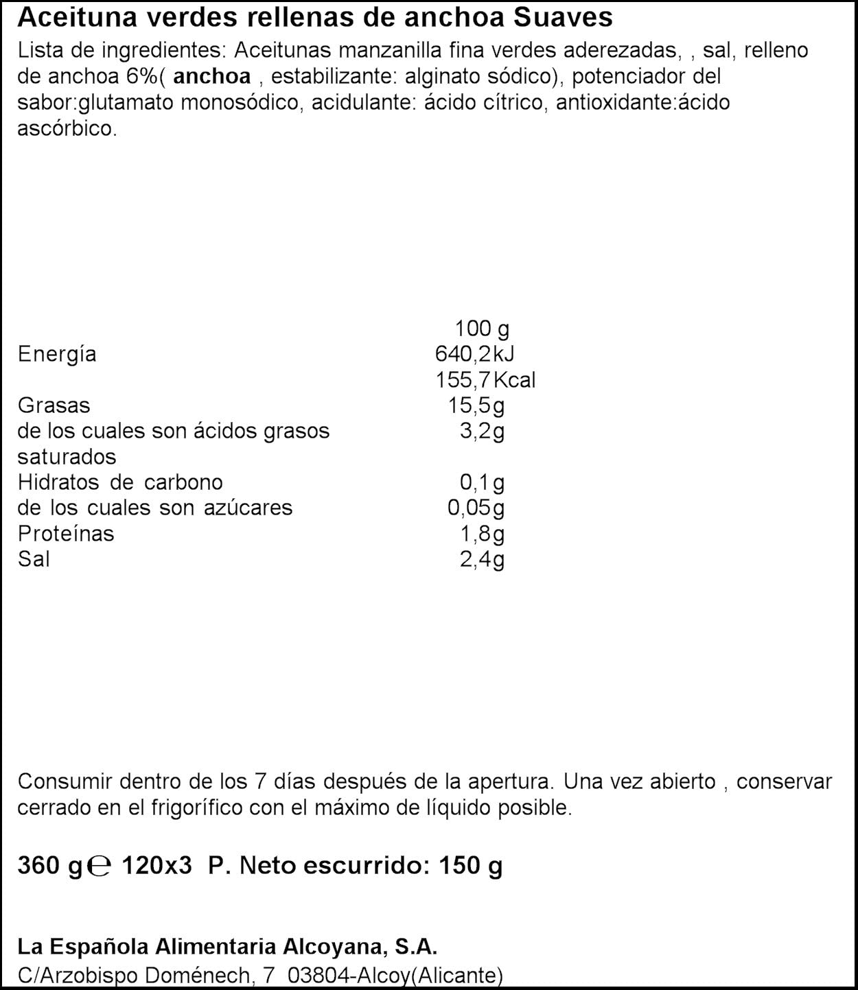 La Española - Aceitunas verdes rellenas de anchoa suaves - 3 ...