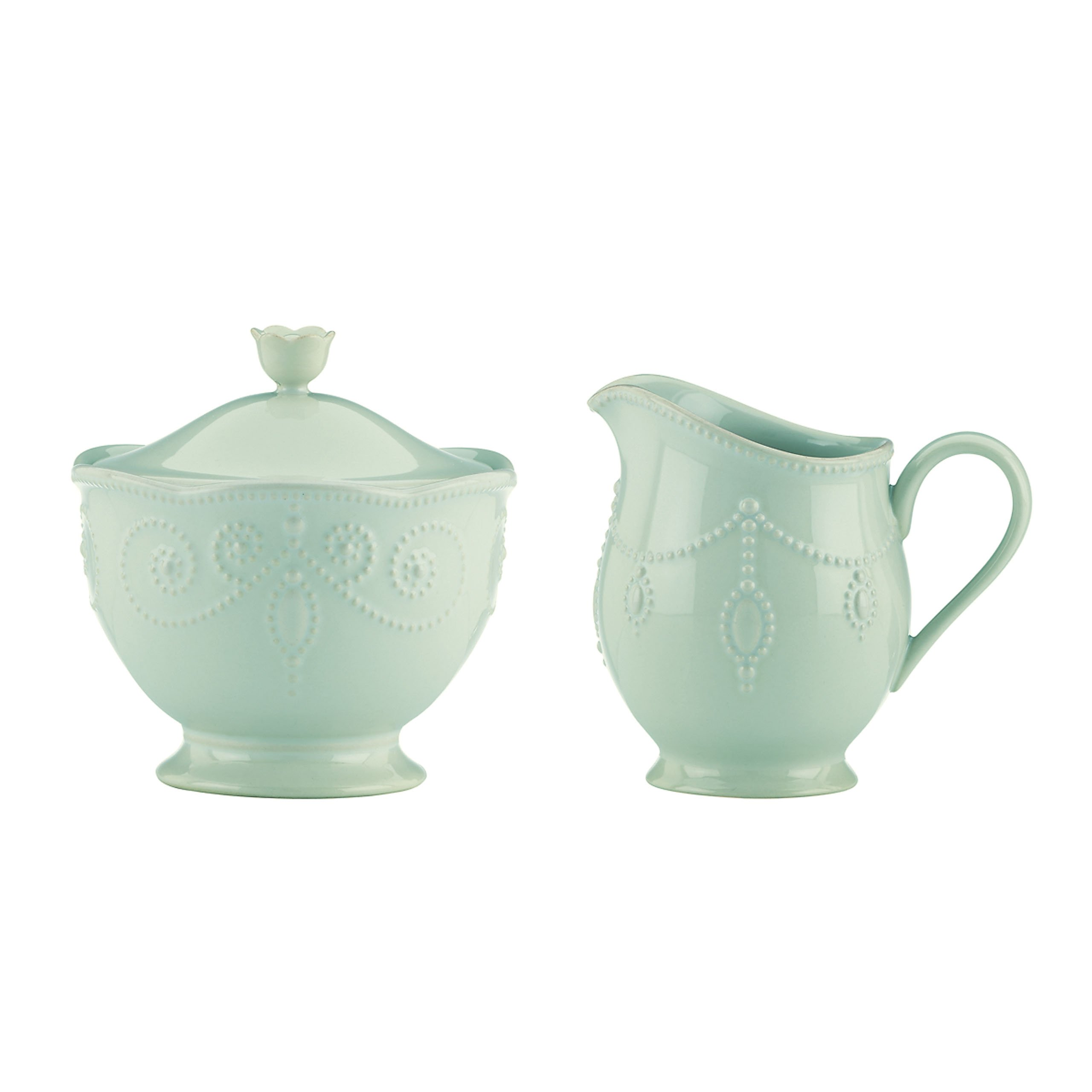 Lenox French Perle Sugar and Creamer Set, Ice Blue