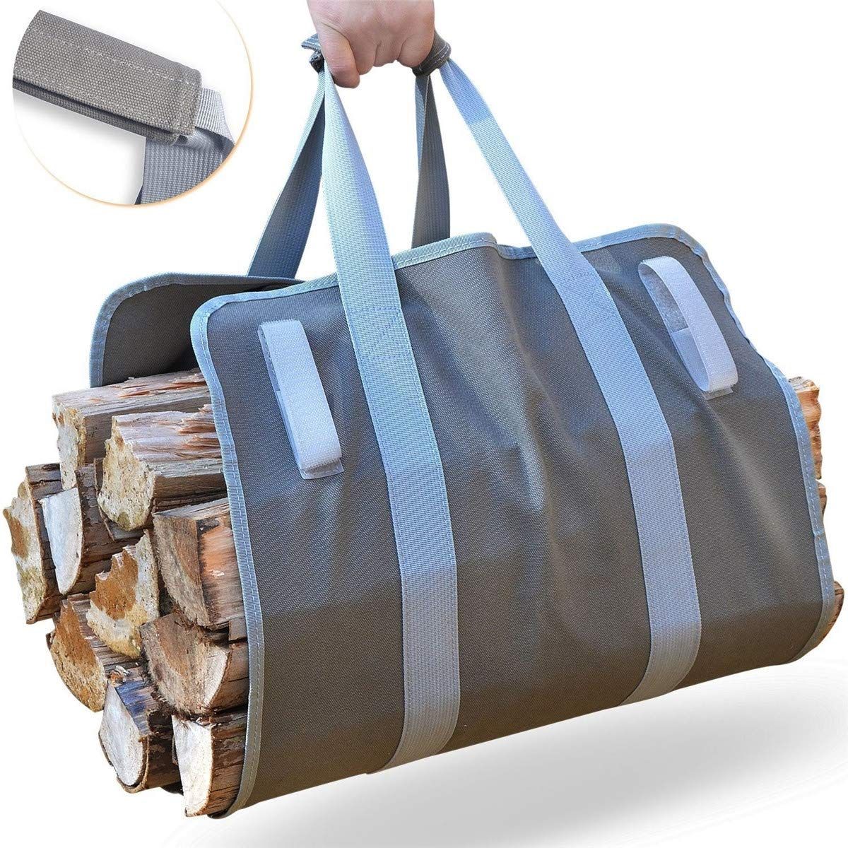 CocinaCo Firewood Carrier Log Carrier Wood Carrying Bag for Fireplace 16oz Waxed Canvas