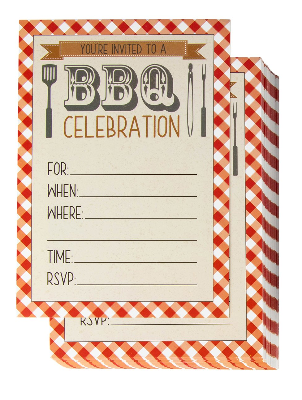 Amazon.com: BBQ Party Invitation Cards – 50-Pack Fill-In Barbecue ...