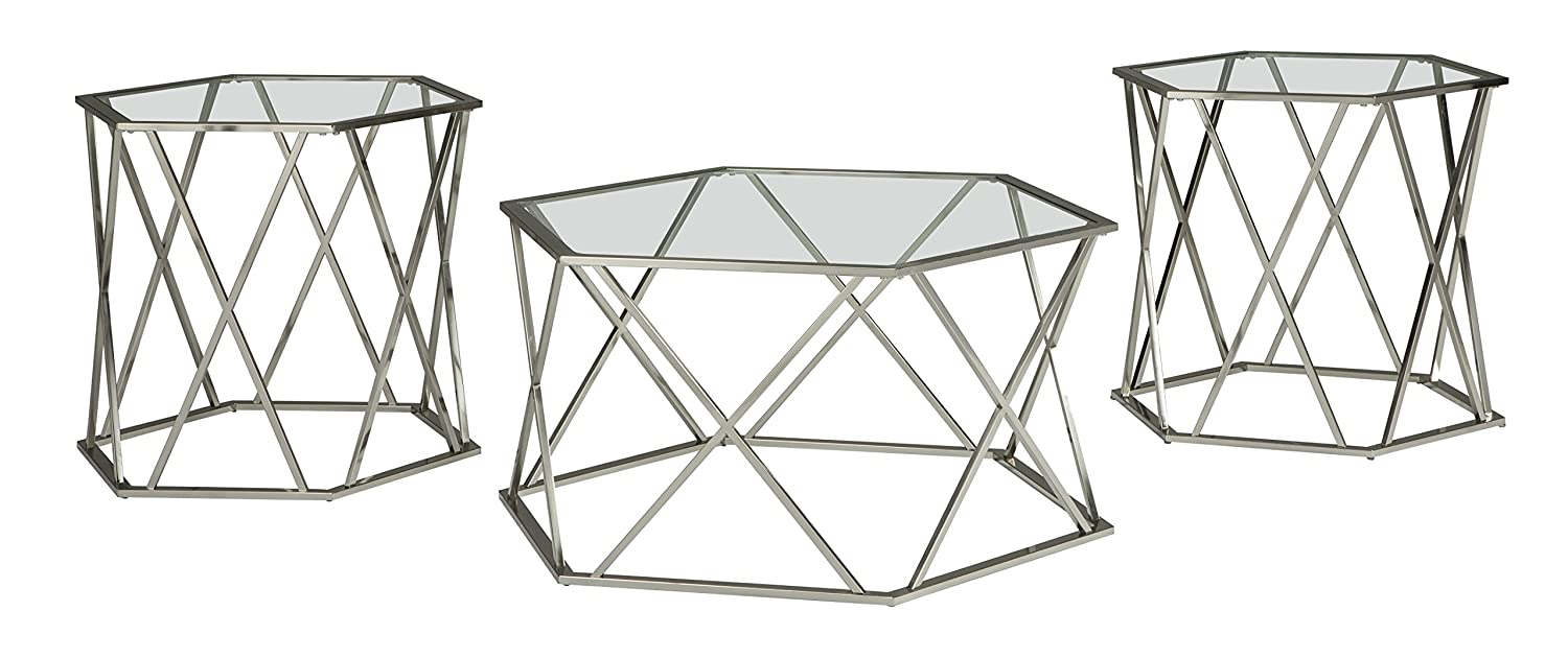 Ashley Furniture Signature Design - Madanere Contemporary 3-Piece Table Set - Includes Cocktail Table & Two End Tables - Chrome Finish