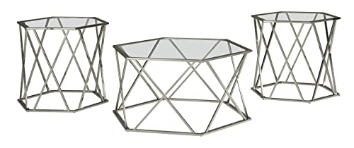 Signature Design by Ashley – Madanere Contemporary 3-Piece Table Set – Includes Cocktail Table Two End Tables, Chrome Finish