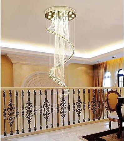 Escaleras Lámparas, Edificios Dúplex, Europeo Minimalista Moderno, Villas Giratorias, Luces De Escalera Dúplex, Lámparas De Cristal: Amazon.es: Hogar
