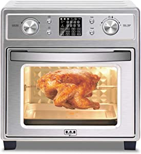 R.N.A 19 QT XL Convection Oven Countertop w/Rotisserie & Dehydrator, Digital Display, Ultra Quiet, 7 Accessories & Cookbook Included, Stainless Steel, 14.4