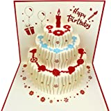 3D Pop Up Birthday Cards,Birthday Pop Up Greeting Cards Laser Cut Happy Birthday Cards Including Envelopes and Glues…