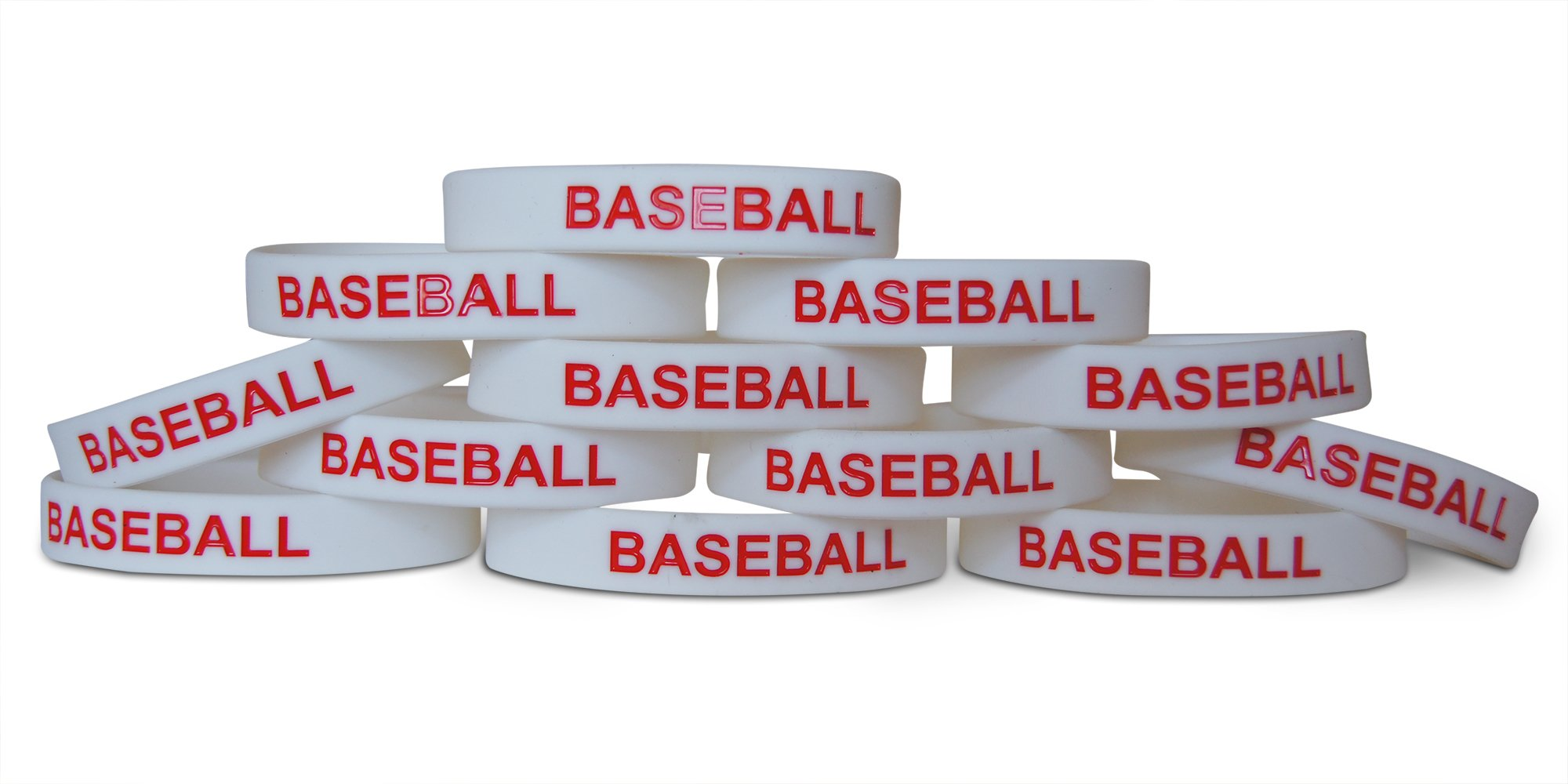 Novel Merk 12-Piece Red Text White Baseball Kids Party Favor & School Carnival Prize Sports Silicone Wristband Bracelet