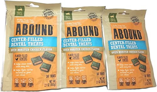 Abound Center-Filled Dental Cat Treats Oven Roasted Chicken Flavor 3 2.1 Oz Packet Bundle
