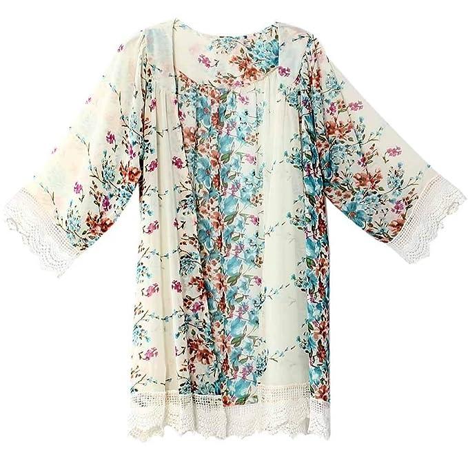 Cardigan Mujer Verano Moda Encaje Splice Chiffon Mangas 3/4 Kimono Elegantes Vintage Floreadas Anchos