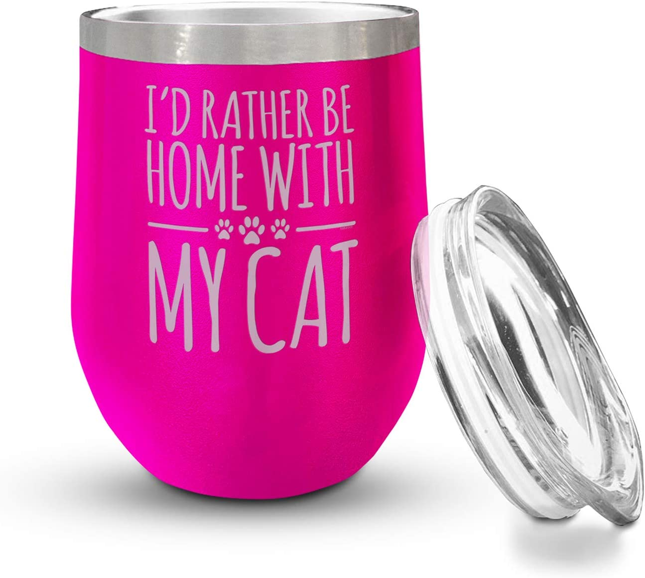 Veracco Id Rather Be Home With My Cat Double Wall Insulated Tumbler With Splash Proof Lid Funny For Someone Who Loves Drinking Bachelor Party Favors (Pink)