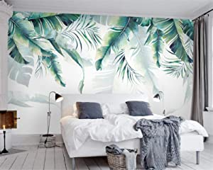 Mural Wallpaper,Nordic Minimalist Hand-Painted Banana Leaf Customize 4D Wallpaper Hd Print Art Large Silk Fresco Wall Painting Poster Picture For Tv Wall Entrance Home Decor,200Cm(W)X100Cm(H)