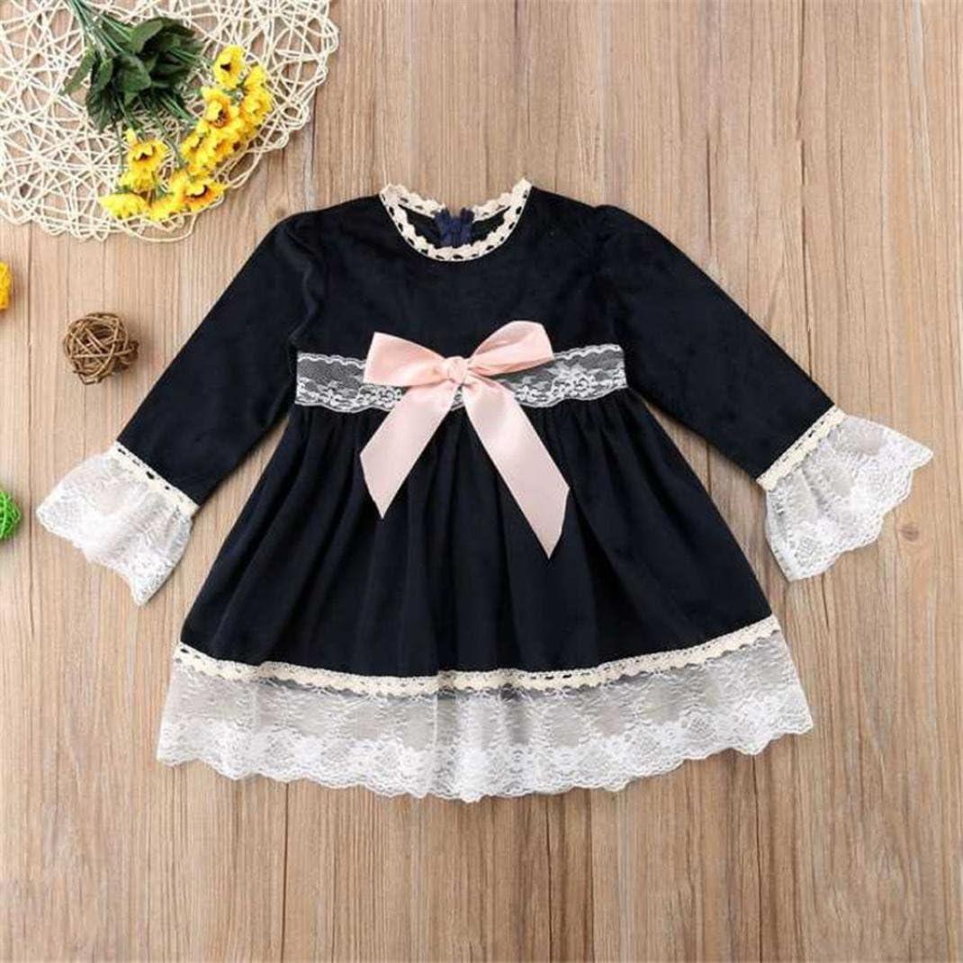 Wenjuan Kids Toddler Infant Princess Dress Baby Girls Bowknot Lace Splicing Long Sleeve Clothing Princess Dresses