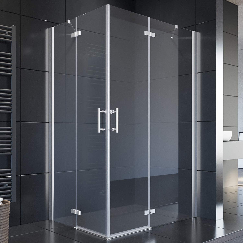 Cabina de ducha Sonni, puerta con bisagras, puerta de esquina, mampara con barra sin marco, 120 x 80 x 195 cm, sin plato de ducha: Amazon.es: Bricolaje y herramientas