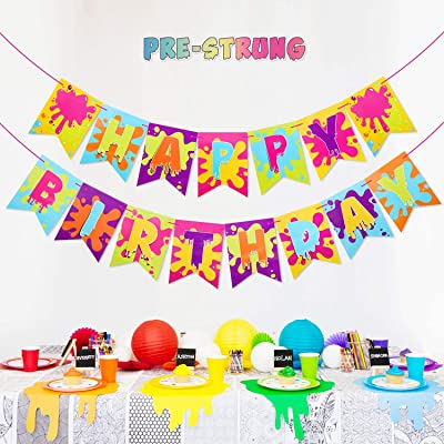 Slime Banner for Slime Birthday Party Baby Shower Painting Party Art Theme Party Decoration Supplies: Toys & Games