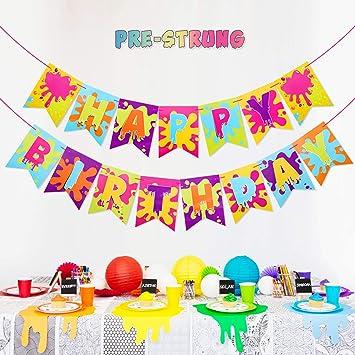 Amazon.com: Slime - Pancarta de arcoíris para fiesta de ...