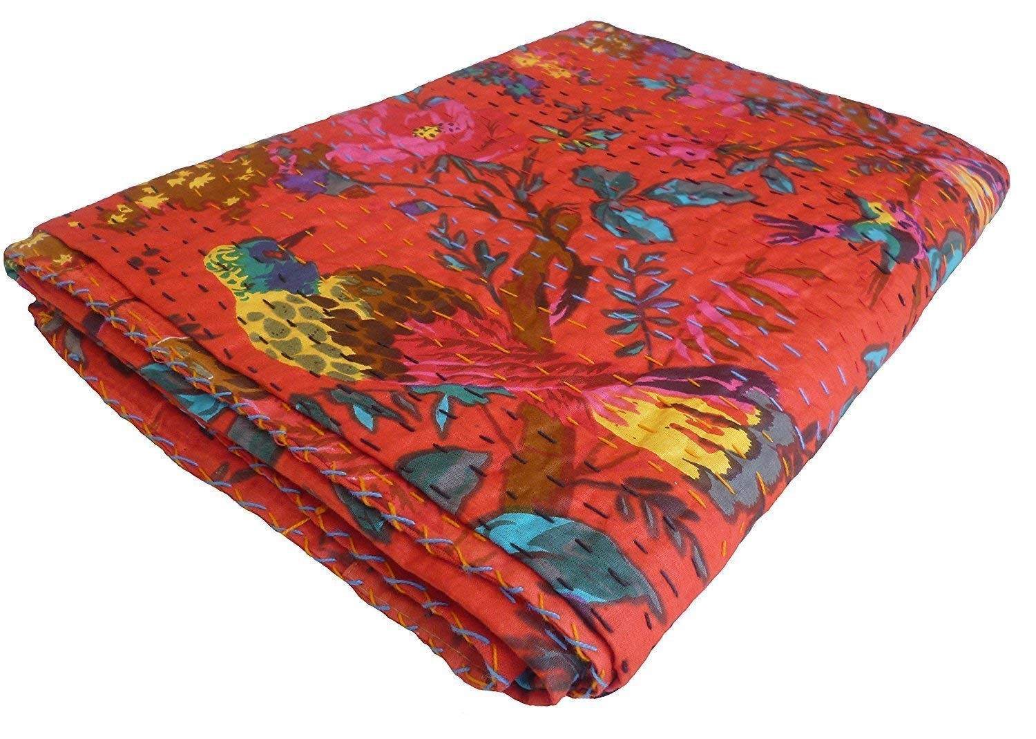 Bird Print King Size Kantha Quilt RED , Kantha Blanket, Bed Cover, King Kantha bedspread, Bohemian Bedding Kantha Size 90 Inch x 108 Inch Colors Of Rajasthan TWT8467