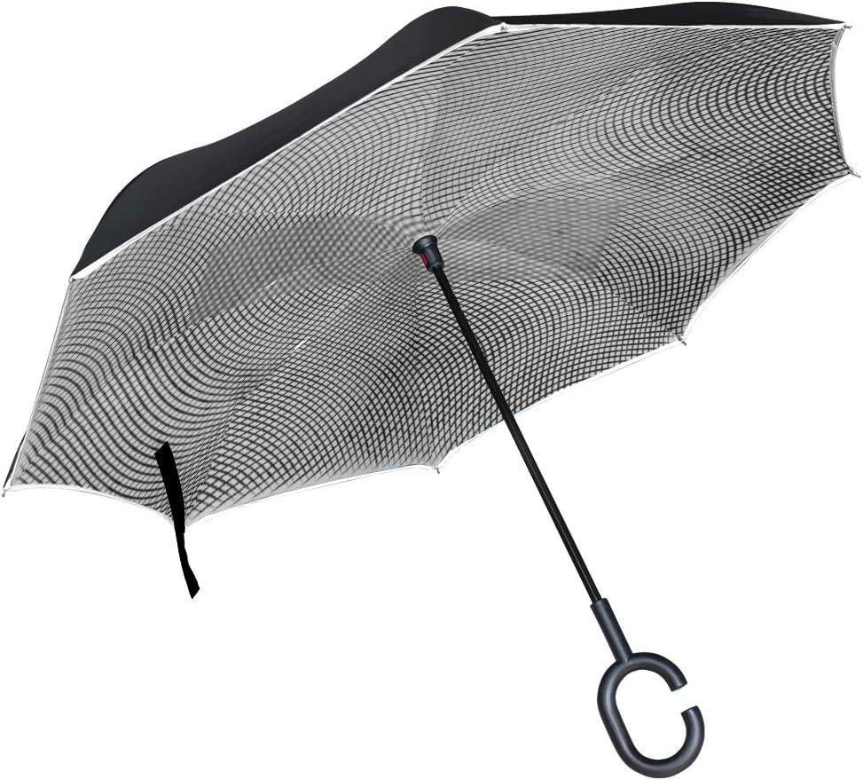 Double Layer Inverted Inverted Umbrella Is Light And Sturdy Abstract Engraving Grunge Texture Wavy Etching Reverse Umbrella And Windproof Umbrella Ed