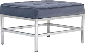 """Studio Designs Home 30"""" W Ashlar Modern Tufted Accent Ottoman, Chrome Additional Seating or Footrest for Living Room or Office, Polyester Fabric, Velvet Slate Blue"""