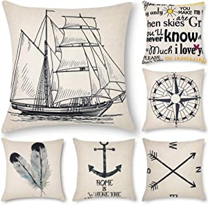 Decorbay 6 Pack Decorative Pillow Covers 18x18, Square Throw Pillow Cases for Home Decor, Decorative Throw Pillow Covers Set for Couch, Sofa, Bed and car (Arrow, Quill, Ship, Compass, Letter)