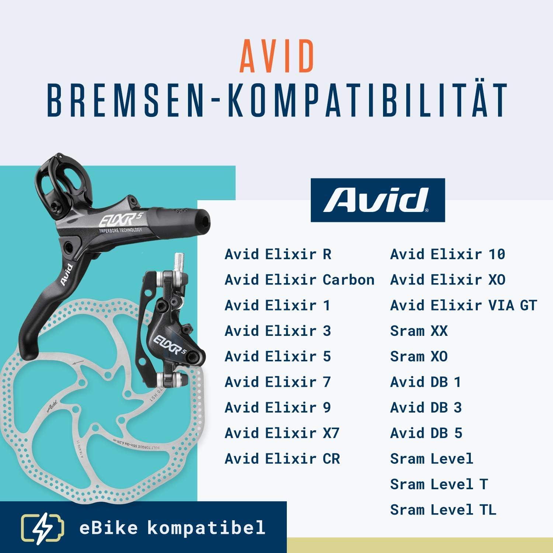 Alphatrail Pastillas de Freno Avid Elixir I Org/ánico /& Sinterizado Pastilla de Freno MTB con Alta kilometraje I Avid Elixir R Carbon 1 3 5 7 9 X7 CR 10 XO Via GT /& SRAM XX XO
