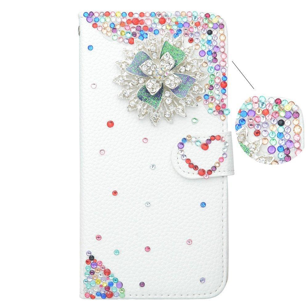 Spritech (TM) Custodia a portafoglio fatta a mano, con strass e con delicata decorazione 3D