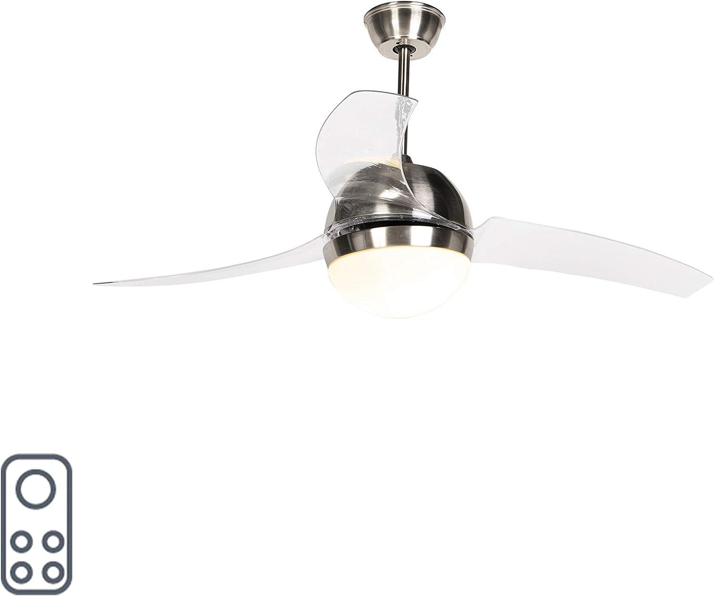 QAZQA Moderno Ventilador de techo con luz y mando a distancia en ...