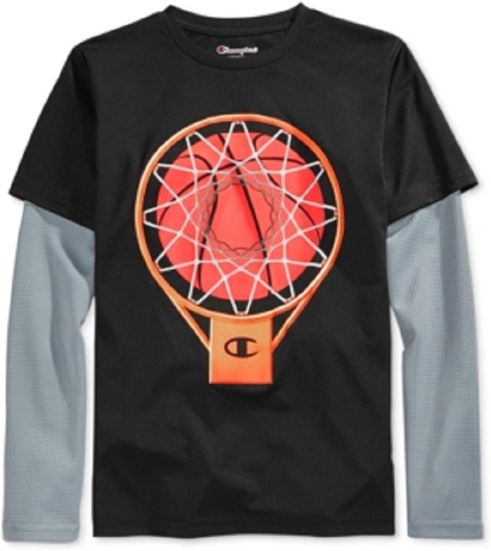 Champion Performance Little Boys Long Sleeve Graphic Print T Shirt Black Grey