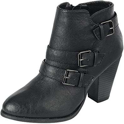 Women's Buckle Strap Block Chunky Heel Ankle Booties