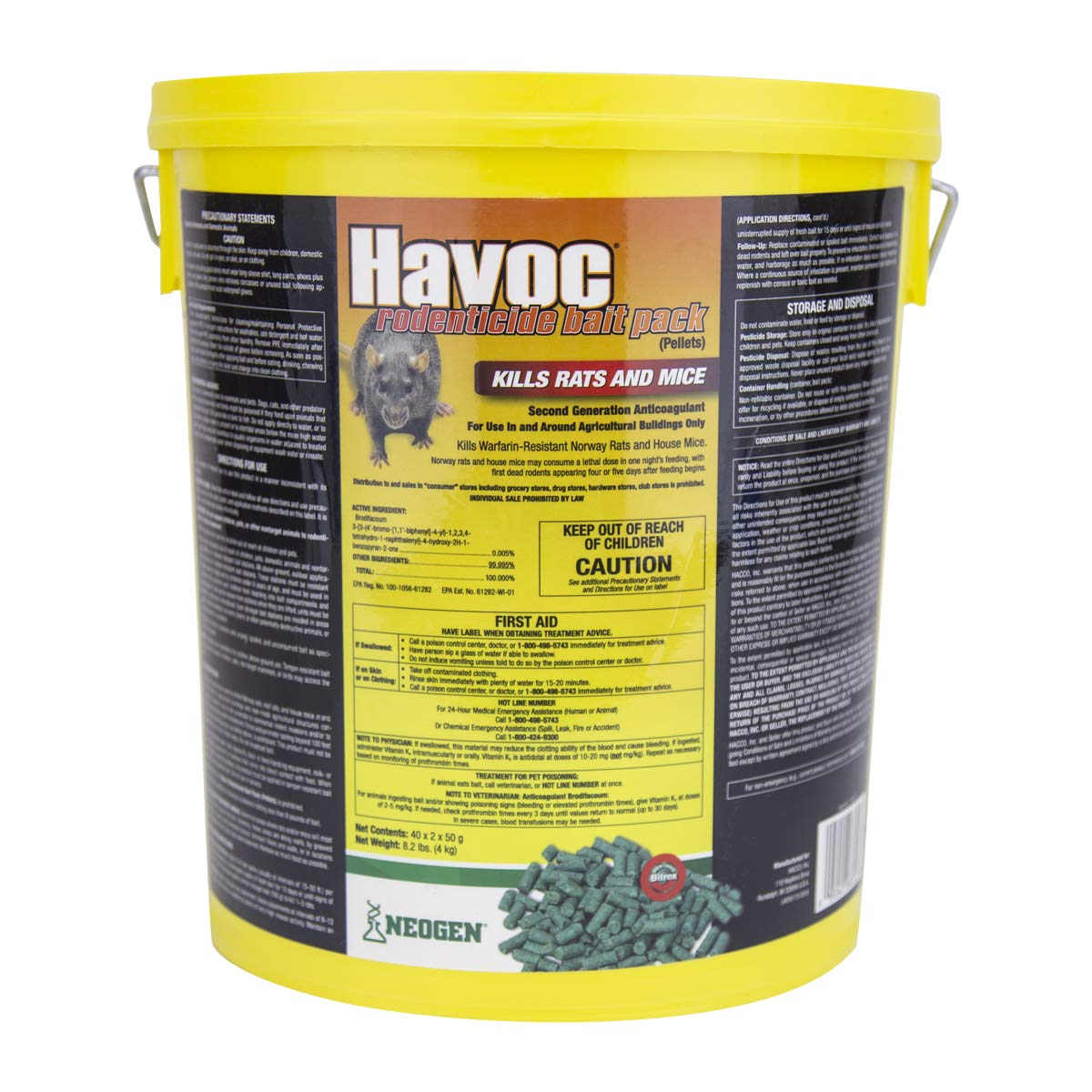 Neogen Havoc 116372 Rodenticide Bait Place Packs, Ready-To-Use Pallets For Control Of Norway Rats, Roof Rats and House Mice, 0.005% Brodifacoum, 40 x 2 x 50g by Havoc