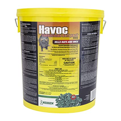 Neogen Havoc 116372 Rodenticide Bait Place Packs, Ready-To-Use Pallets For  Control Of Norway Rats, Roof Rats and House Mice, 0 005% Brodifacoum, 40 x