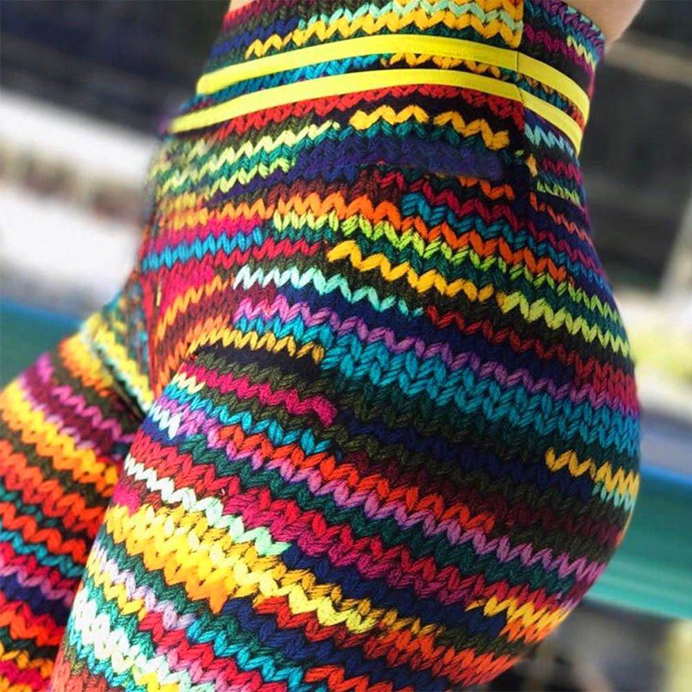 Leggins de Yoga Mujer SUNNSEAN Colores Mezclado a Rayas de Cebra Cintura Alta El/ásticos Deportivos para Correr Gimnasio Fitness Pantalones Largas Trousers