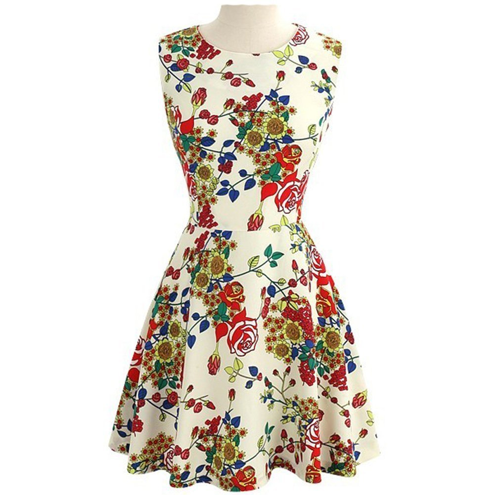 Fashion Quality Sleeveless Above-knee Full Flower Tiny Dress, Ivory 6P