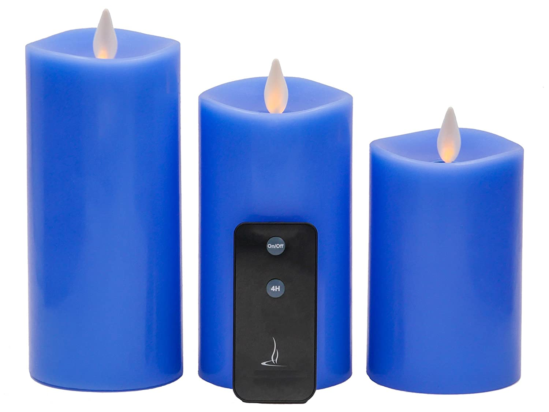 Flameless CandlesちらつきCandle QBA電子リアルワックスDancing FlameピラーLEDキャンドルセットof 3 withリモート Set of 3, 3inch * 5inch & 6inch & 7inch B079H2JQ6C 18419  ブルー